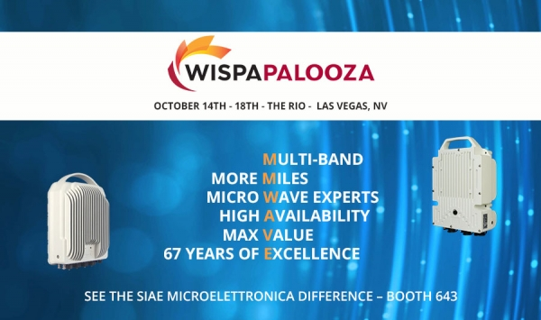 SIAE MICROELETTRONICA invite you to visit our booth #643 at WISPAPalooza in Las Vegas from Oct 15 - Oct 17.